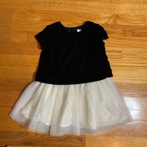Baby Gap 3T Black and Ivory Velvet Tulle Dress